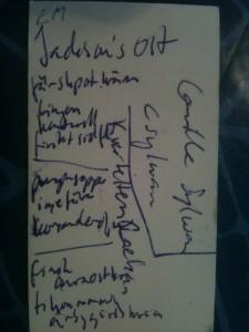 Och här är de oläsliga anteckningarna.