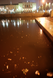 Börsen i bakgrunden, skitigt vatten och blombukett i förgrunden.