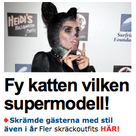 Under denna rubrik finns bilder på kändisar som är på väg till dagis, några som är utklädda till hundar och ... inte en enda skräckoutfit.