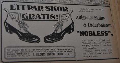 ... ty ett par skor, behandlade med Nobless räcker lika länge som två par, till hvilka man användt dålig skocréme.
