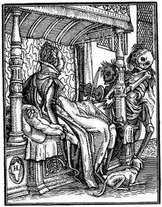 Där ligger jag i mitt hotellrum och sover och får besök av Döden. (Holbein.)
