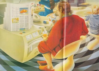 Luren på bordet, tidningarna som uppskjutna ur en skrivare och fjollstrumpor på karln.
