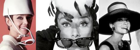 Audrey Hepburn har fingrar, cigaretter och glasögon i munnen på väldigt många bilder.