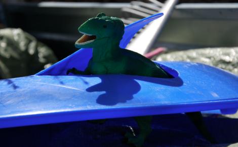 Lilla Dino har bosatt sig i ett trasigt tefat.
