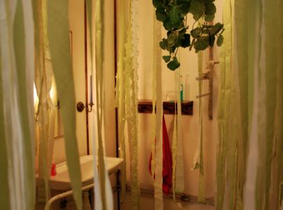 """Megasuperdunderfesten hade tema """"Zoo"""" -- och toaletten stajlades till något djungelliknande."""