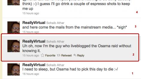 Han kallar sig Really Virtual och hans tweets är skrivna nerifrån och upp.)