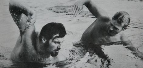 Simning med Gunnar Larsson (som vann med två hundradelar i OS 1972).