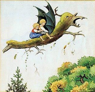 Titta, draken flyger med paraplyvingar!