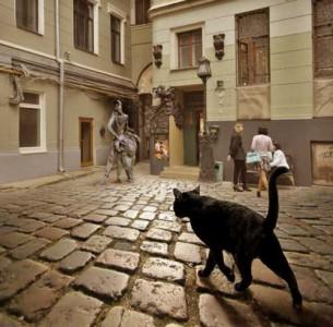 Katt, förmodligen talande, vid Bulgakovs museum.