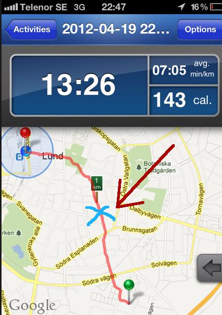 Jag trillade bara en enda gång: se det blåa krysset som den röda pilen pekar mot.