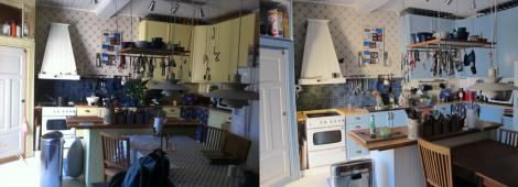 Gult kök i förrgår – blått kök igår. (Det är INTE ljusblått. Det ÄR inte ljusblått. LJUSblått är det i alla fall inte.)