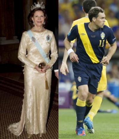 Drottning Silvia och Johan Elmander – lika som snedstreck.