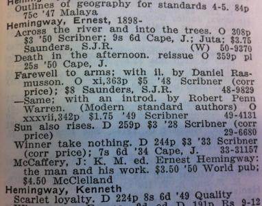Cumulative Book Index 1949–1950 är en lista med engelska boktitlar – två års bokutgivning, alltså. Så himla underligt.