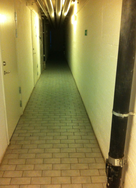 Och så installerar jag mig med Petra i en källarlokal, där vi förmodligen ska sova på cementbrits och kissa i golvbrunn.
