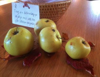 Hela kyrkan var pyntad med äpplen, nogsamt placerade på röda löv.