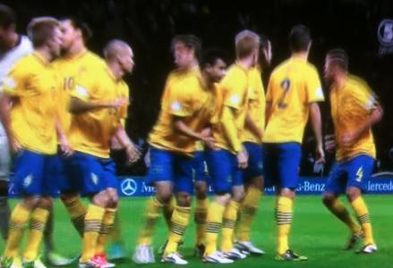 Före Tyskland-Sverige 2012 (och alldeles efter att hela laget var samlat).