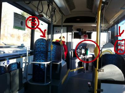 Till vänster står en kvinna och skriker in till busschauffören (som har öppnat fönstret) och till höger står en kvinna och skriker genom dörren (som chauffören också har öppnat). I mitten syns hur skåpbilen har prejat bussen.