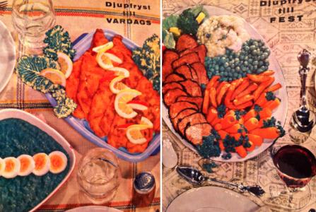 Förmodligen är det muskot i kryddburken i vänstra bilden så att alla på 60-talsmanér kunde 1) få smak på maten 2) hallucinera lite.  Den där duken på festbilden passar alls inte med det utomjordiska saltkaret.