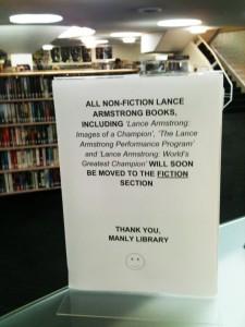 Klicka för att läsa vad en arg bibliotekarie i Australien tycker om Armstrongs fusk.