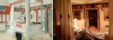 Carl Larssons säng utan mig – och Carl Larssons säng med mig i.