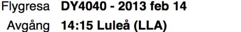 Flygresa till Luleå med avgångstid 14:15.