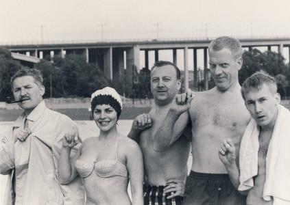 Hasse Alfredson, Lizzie Alandh, Mille Schmidt, Tage Danielsson och lille Gösta Ekman.