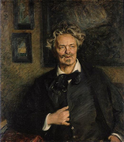 August Strindberg målad av Richard Bergh 1905. (Men det där med att sätta handen innanför kavajen begriper jag mig fortfarande inte på.)