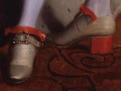 Ludvig XIV (1638-1715) sägs vara en av de första som klädde sig i högklackat. Här en detaljstudie.