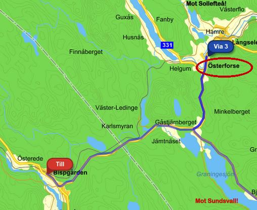Ni ser … från Sundsvall mot Sollefteå, men man måste stå i drygt två timmar i Österforse för att få åka tillbaka och ner till Bispgården – vilket bara tog 20 minuter (på en 90-väg utan vägren, så jag hade inte kunnat gå dit).