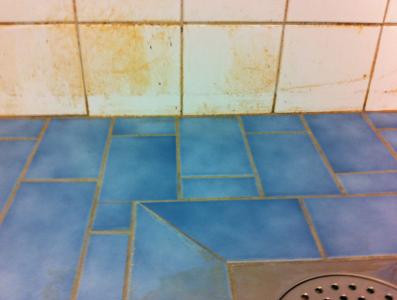 För att få denna duschvägg ren, blev jag tvungen att klä av mig naken eftersom de åtta duscharna hade rörelsedetektorer och började spruta så fort jag närmade mig. Med andra ord finns det ett okänt antal nakenstädare.