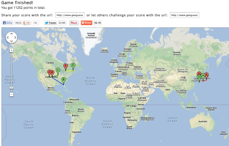 Här ser man att jag råkade hamna i USA två gånger, Canada en gång och Japan en gång.