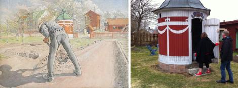 """Till vänster Carl Larssons tavla """"Trädgårds-Erik"""" från 1912. Till höger Ami och Pontus Bergöö i maj 2013."""