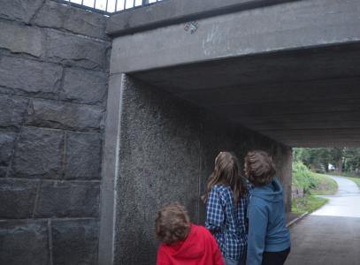 I Högdalen hittade vi en på ett ovanligt ställe uppsatt pärlplatta.