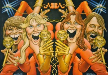 Kommentatösen Agnetas man Folke Hallin gjorde denna ABBA-karikatyr för MAD. Och Agneta rotade nu ikväll fram originalet, lade det på golvet och fotograferade det, uppflugen på en stege. (Hon säger att färgerna blev fel och att det är lite snett, men jag ser bara att det är en perfekt bild!)