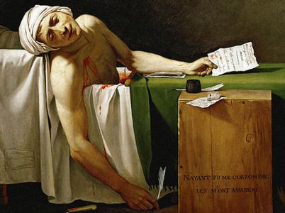 """""""Marats död"""", målning av Jacques-Louis David (1793)."""