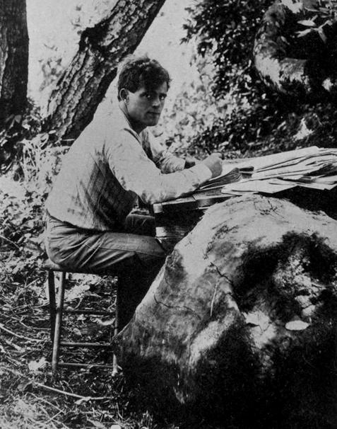 Och här sitter Jack London på sina ägor och blänger på fotografen.
