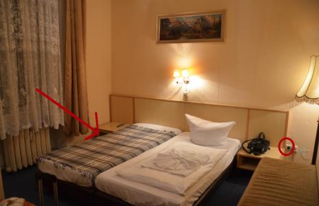 Hela rummet andas Östtyskland 1977, men ligger i västra delen. Hotellet heter Hotel-Pension Spree och ligger perfekt vad gäller tunnelbanenedgång.
