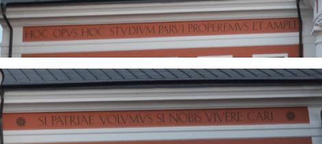 "Vad står det på latin där uppe? ""Hoc opus hoc studiumparvi properemus et ample si patriae volumus nobis cari."""