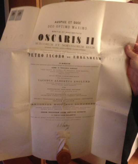 Oscar II:s intyg att min mormors farfar hade utnämnts till prost 1870.