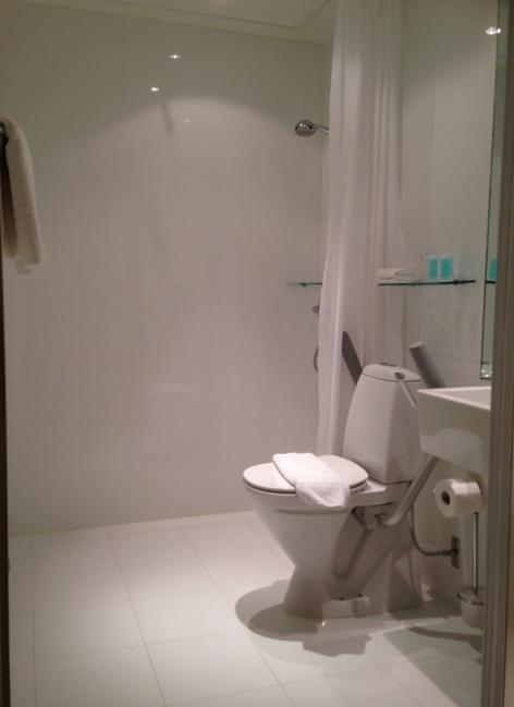 Badrummet var kliniskt rent. Och se där -- finhotell bjuder på både schampo och balsam. (Den där dusch-schampo-tvålen som brukar sitta i storpack på väggen förvandlar mitt hår till något som liknar blött sämskskinn.)