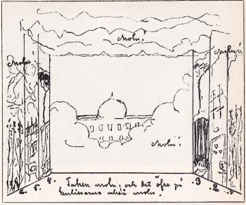 """Strindbergs egen teckning inför en uppsättning av """"Ett drömspel""""."""