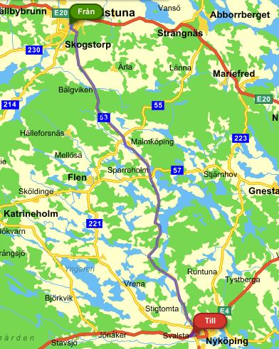 Nu är det så att vägen till Nyköping på kartan må se ut så här.