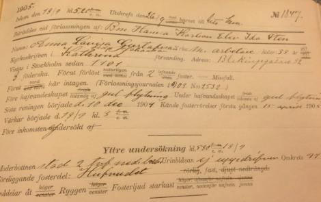 Någons förlossning den 18/9 1905. Men vänta, vad heter modern?
