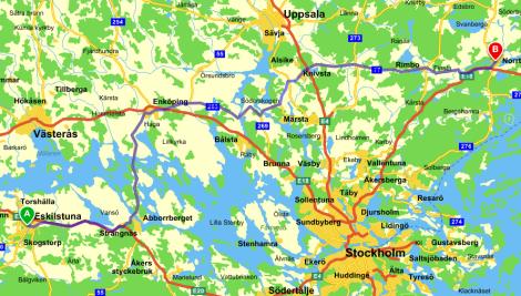 Eskilstuna–Norrtälje: 2 timmar och 38 minuter.